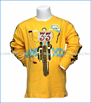Wes and Willy, L/S Dirt Bike T-Shirt in Gold