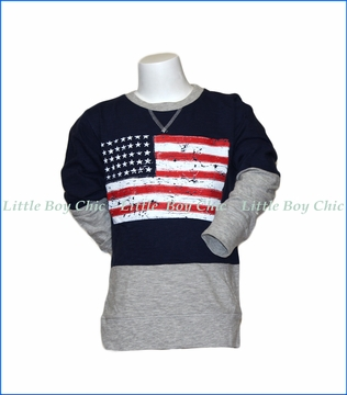 Wes and Willy, L/S Eng Slub Flag Crew Tee in Blue