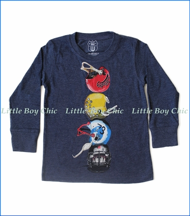 Wes and Willy, L/S Helmet Stack T-Shirt in Midnight