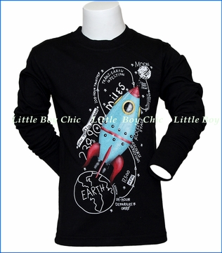Wes and Willy, L/S Moon Ship T-Shirt in Black