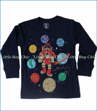 Wes and Willy, L/S Rocket Man T-Shirt in Blue