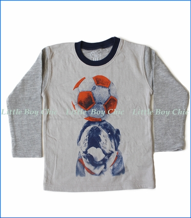Wes and Willy, L/S Soccer Dog T-Shirt in Oatmeal Heather