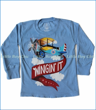 Wes and Willy, L/S Wingin' It T-Shirt in North Carolina Blue