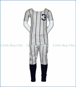 Wes and Willy, Ruth Baseball Pajama Set in Off-White
