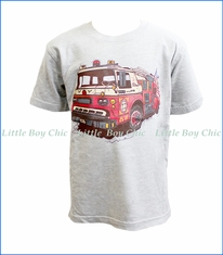 Wes and Willy, S/S Fire Engine T-Shirt in Grey