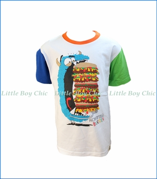 Wes and Willy, S/S Monster Burger T-Shirt in White
