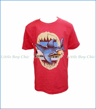 Wes and Willy, S/S Shark Bite T-Shirt in Red