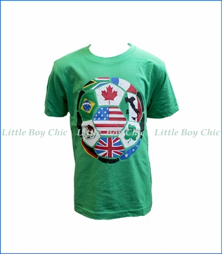 Wes and Willy, S/S World Soccer T-Shirt in Green