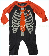 Wes and Willy, Skeleton Tie Glow in the Dark One-Piece Romper in Black
