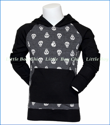 Wes and Willy, Skull Pull Over Raglan Hoodie in Black