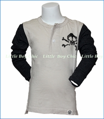 Wes and Willy, Slub Rock N Roll Henley in Off-White