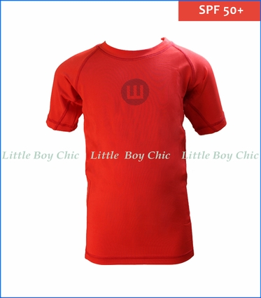 Wes and Willy, Sun Safe Rash Guard in Red