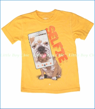 Wes & Willy, Dog Selfie Tee in Bold Gold (c)