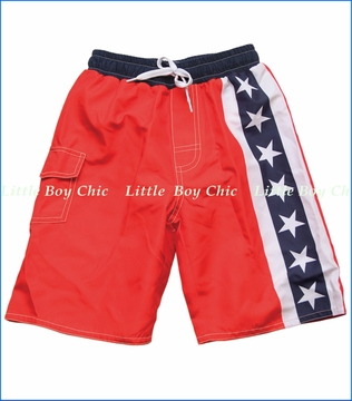 Wes & Willy, Stars and Stripes Swim Trunk in Bright Red (c)