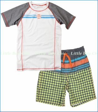 Wes & Willy, Striped Rash Guard and Swim Trunk Set