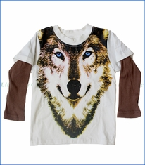 Wyldson, Wolf 2fer T-Shirt in Off-White