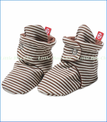 Zutano, Chocolate Candy Stripe Booties