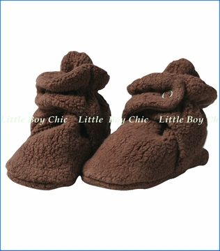 Zutano, Chocolate Cozie Fleece Booties