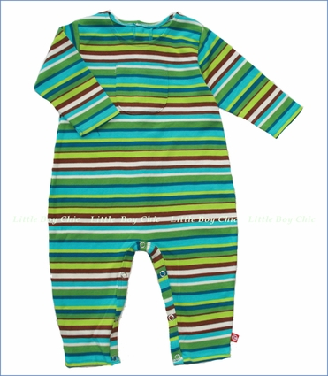 Zutano, Chocolate Multi Stripe Coverall