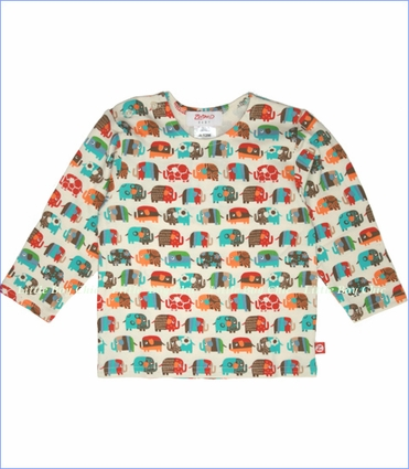 Zutano, Elephant Parade Long Sleeve Tee in Cream (c)