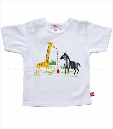 Zutano, Zoo Short Sleeve Tee in White (c)