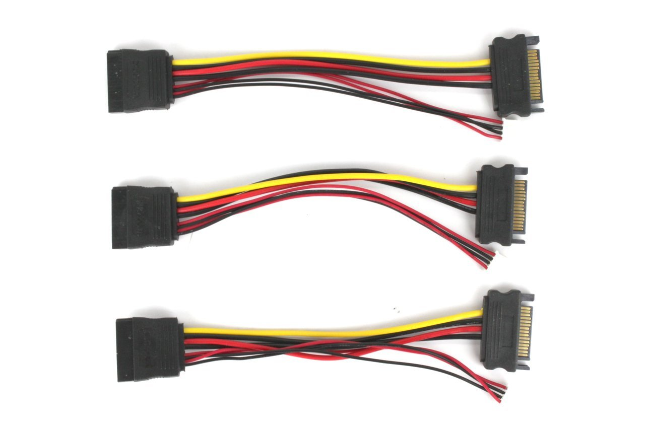 15-Pin SATA Power Cable with 4-Pin Socket Connector - 3 Pack