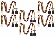 16 inch LP4 Molex to Dual (2) SATA Power Y Splitter Cable Adapter 6-Pack