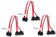 8 inch Slimline SATA to SATA Female/Male Adapter with Power 3-Pack