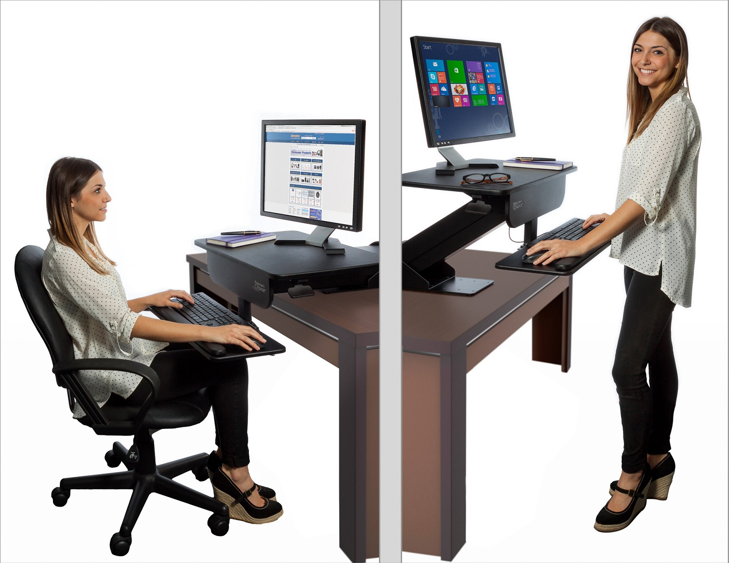 Adjustable height gas spring easy lift standing desk sit for Standing desk at home
