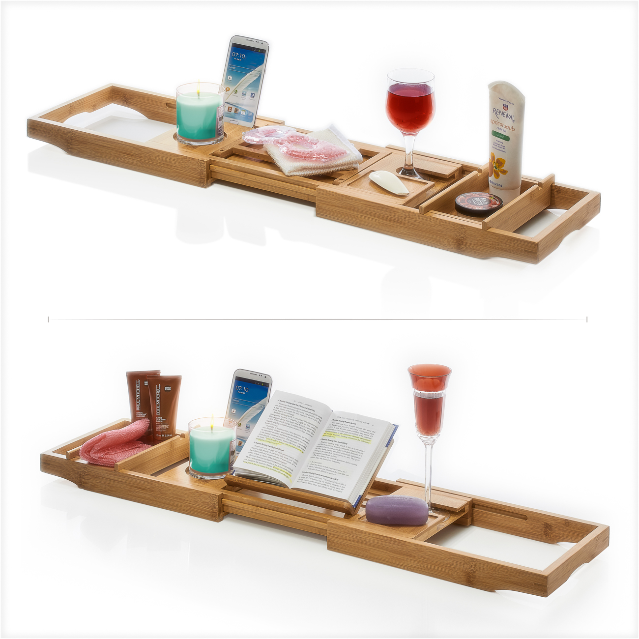 XL Bamboo Bathtub Caddy with Wine Glass Holder - Prosumer\'s Choice