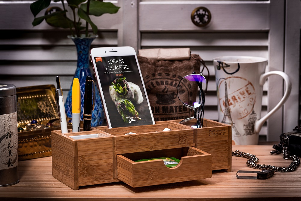 Bamboo Office Caddy And Desk Organizer