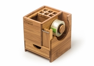 Bamboo Office Caddy with Tape Dispenser