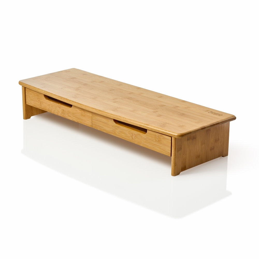 Bamboo Extra Long Tv Stand With Dual Drawers Prosumer S