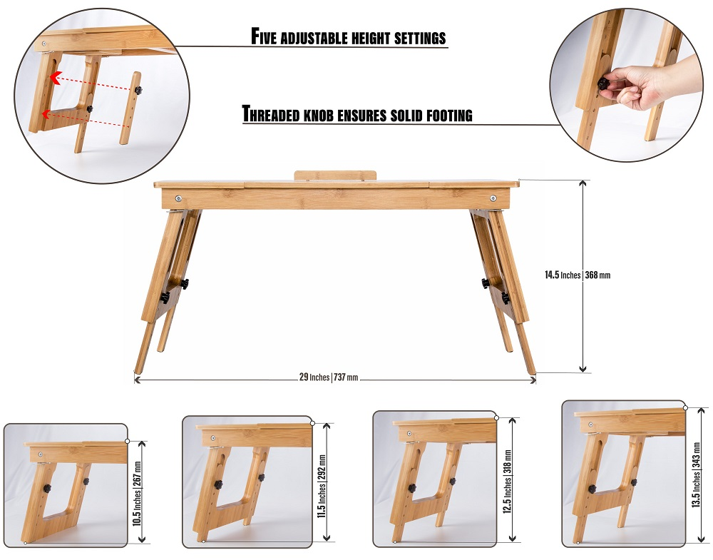 Ecofriendly Bamboo Sitting to Standing Desk Converter with