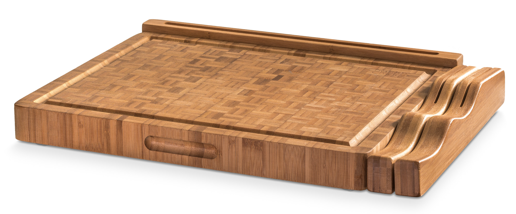 End Grain Bamboo Cutting Board Workstation With Juice Trap, Multiple Knife  Slots And Built In Tablet/iPad/Smartphone Recipe Holder   15inch