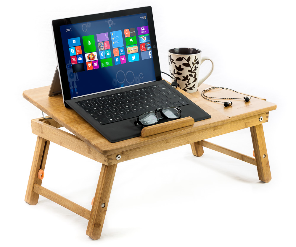 Natural Bamboo Laptop Cooling Stand Up To 15-in. Bed Table Tray