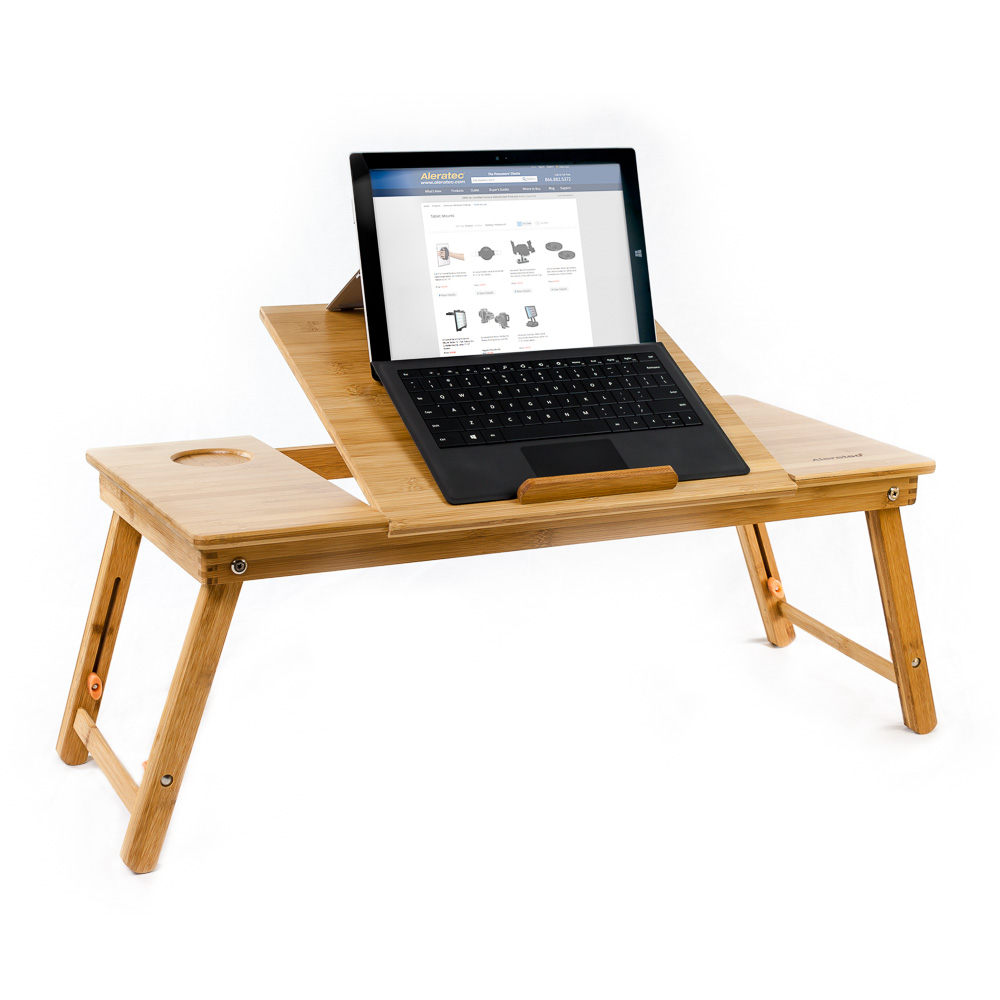 Natural Bamboo Tablet Laptop Up To 15 In Cooling Stand With Fan Table Desk