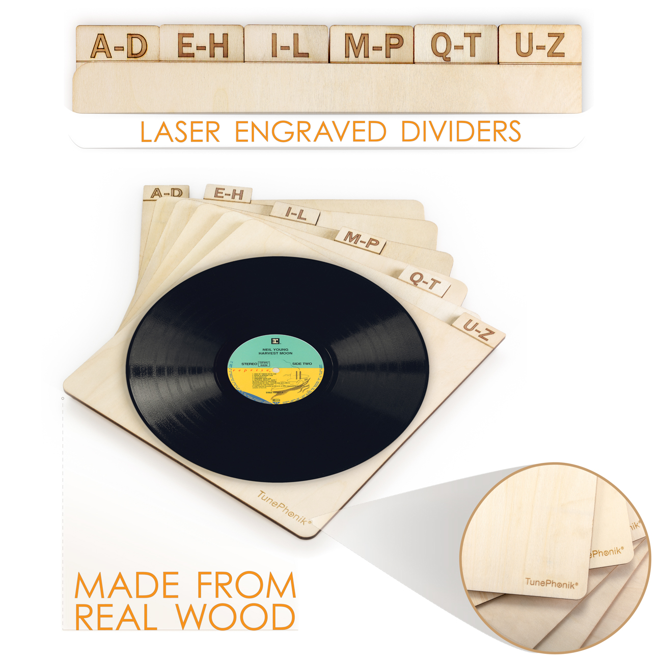 Vertical Laser Cut Wooden Record Dividers to Organize Vinyl LPs up to 12  inches