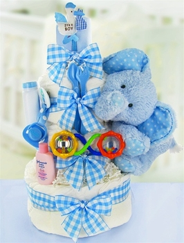 3 Level Blue Elephant Diaper Cake for Boys