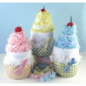 Baby Diaper Cupcakes (Pink Blue or Yellow)