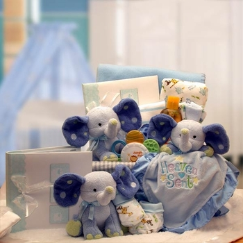Baby elephants gift basket for boys simplyuniquebabygifts baby elephants and more for boys negle Images