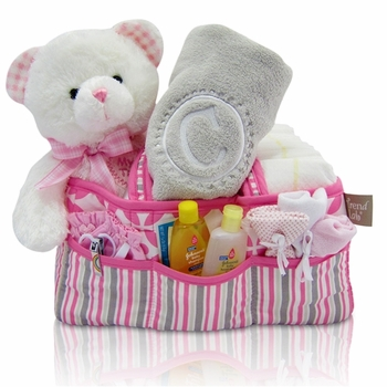 Baby Girl Diaper Travel Bag With Monogrammed Blanket