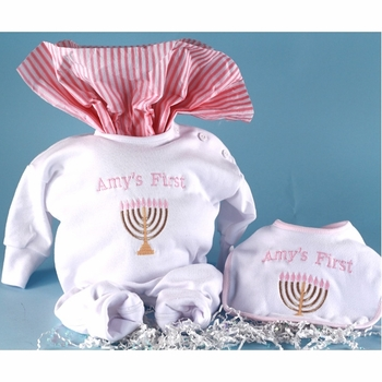 "Baby Girl's Personalized ""First Hanukkah"" Outfit"