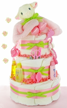 Baby Lamb 3 Tier Girl Diaper Cake