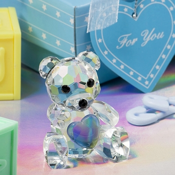 Blue Heart Crystal Teddy Bear Favors