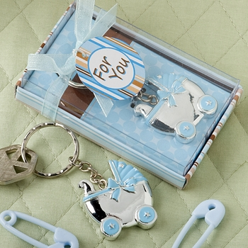 Boys Baby Carriage Keychain