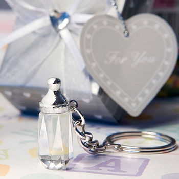 Brilliant Crystal Baby Bottle Key Chains