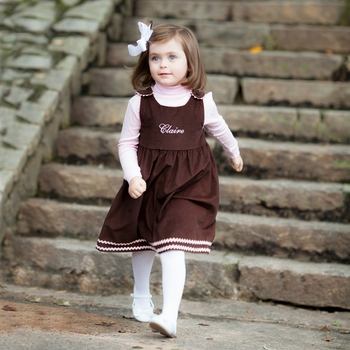 Brown And Pink Corduroy Dress