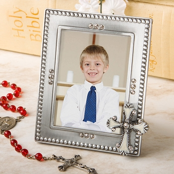 Christening & Baptism Picture Frames With Cross Or Angel Design
