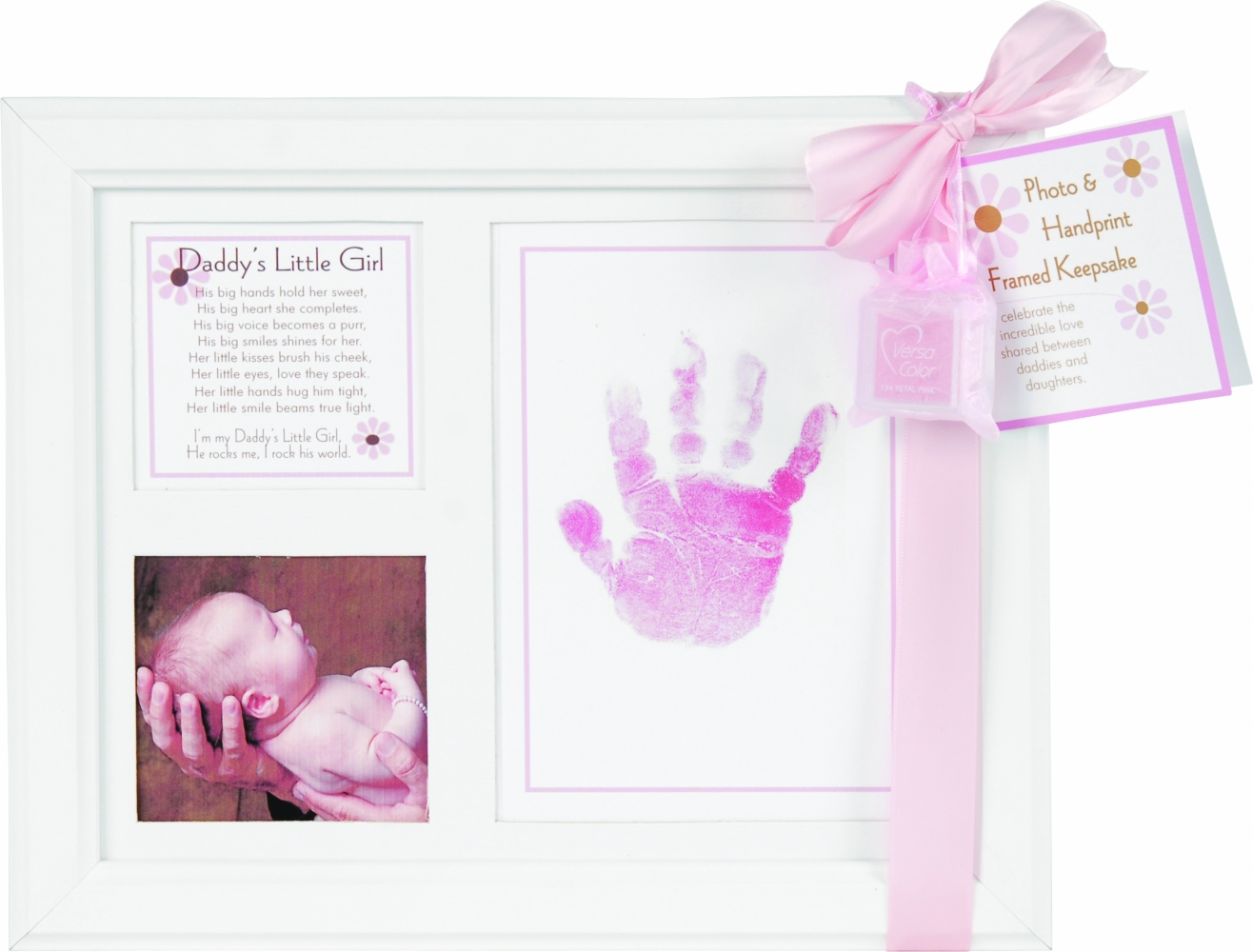 Daddy\'s Little Girl Baby Handprint Frame | SimplyUniqueBabyGifts.com